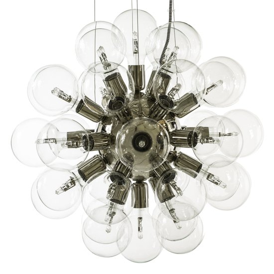 Modern glass chandelier in nickel plated brass with 34 clear halogen bulbs gustavian style treniq 1 1522621226374