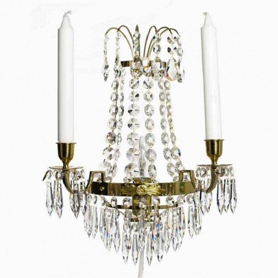 Empire style wall sconce in polished brass gustavian style treniq 1 1522621475712