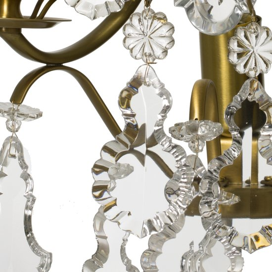 Rococo style wall sconce in amber coloured brass with pendeloque shaped crystals gustavian style treniq 1 1522622084060