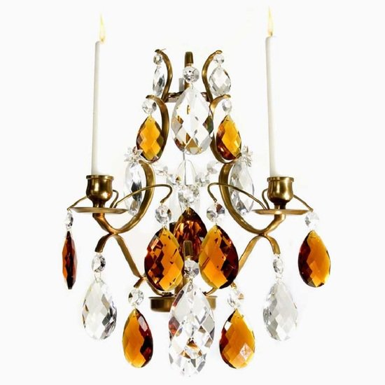 Rococo style wall sconce in amber coloured brass with amber coloured crystals gustavian style treniq 1 1522622235622