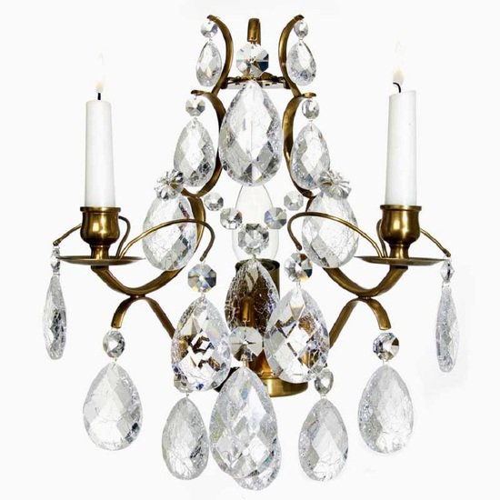 Rococo style wall sconce in amber coloured brass with clear cracked crystals gustavian style treniq 1 1522622420414