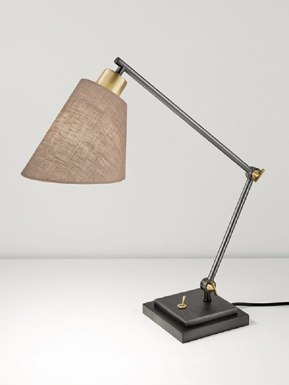 Desk lamp in black bronze and polished brass gustavian style treniq 1 1522669852088
