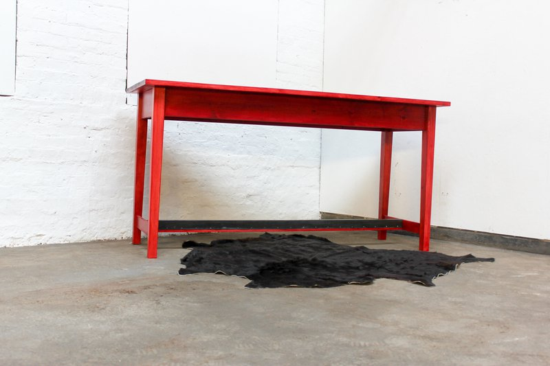 George bright red stained new pine bar or dining table with distressed zinc carla muncaster treniq 1 1522917847899