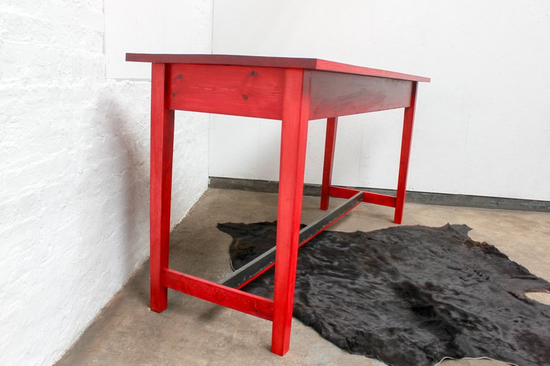 George bright red stained new pine bar or dining table with distressed zinc carla muncaster treniq 1 1522917847977