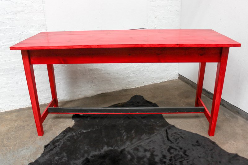 George bright red stained new pine bar or dining table with distressed zinc carla muncaster treniq 1 1522917847979