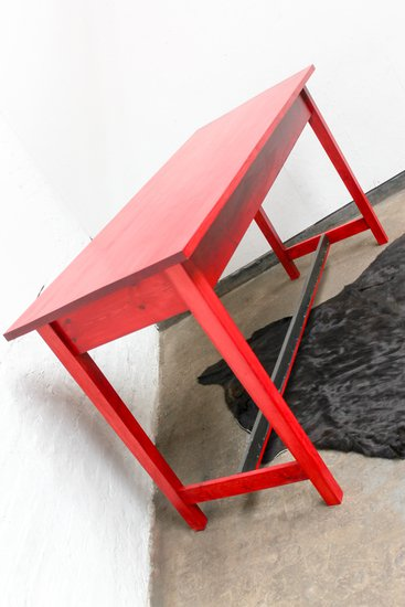 George bright red stained new pine bar or dining table with distressed zinc carla muncaster treniq 1 1522917847980