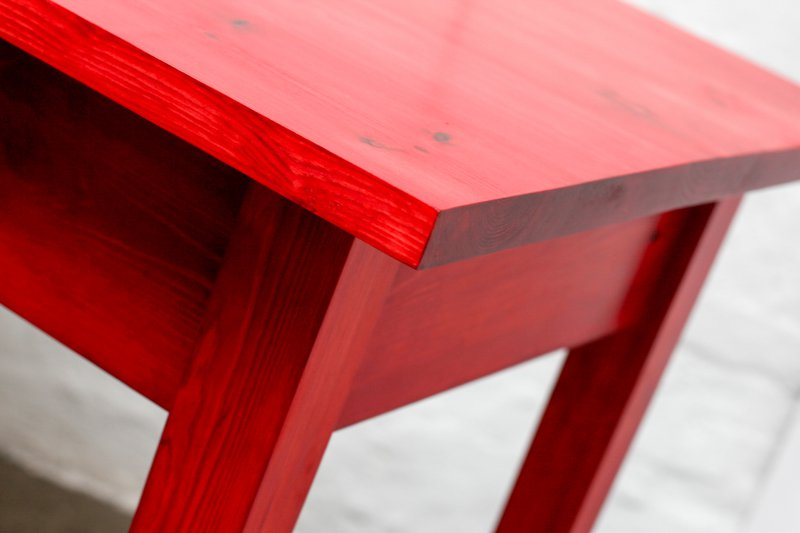 George bright red stained new pine bar or dining table with distressed zinc carla muncaster treniq 1 1522917867138