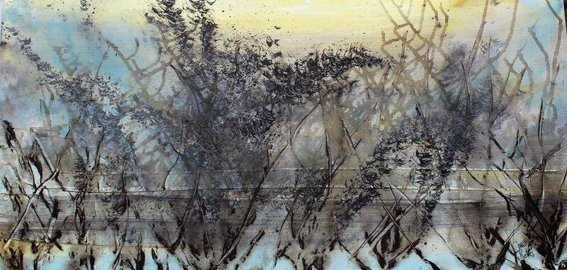 Skyfall mist semi abstract painting 20 x 40%22 lindsey keates environmental artist  treniq 1 1523202911415