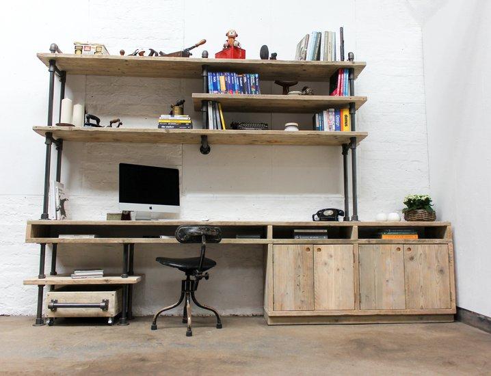 Pourreza reclaimed scaffolding  steel pipe industrial desk with storage  carla muncaster treniq 1 1523873526601