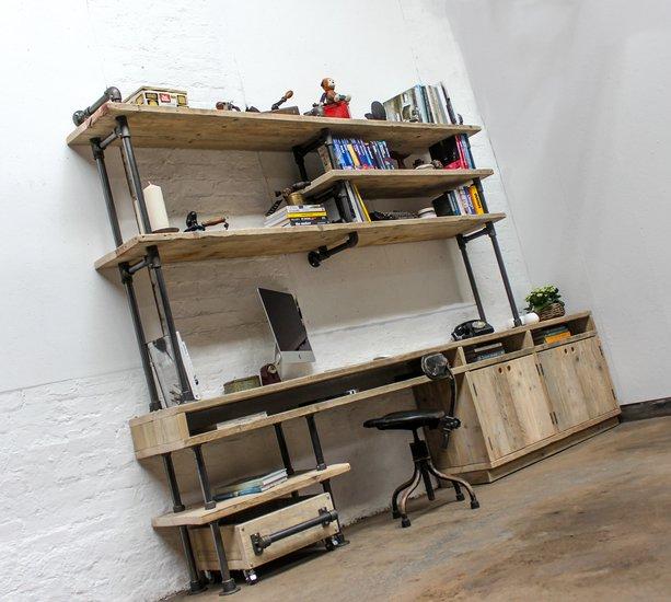 Pourreza reclaimed scaffolding  steel pipe industrial desk with storage  carla muncaster treniq 1 1523873526604