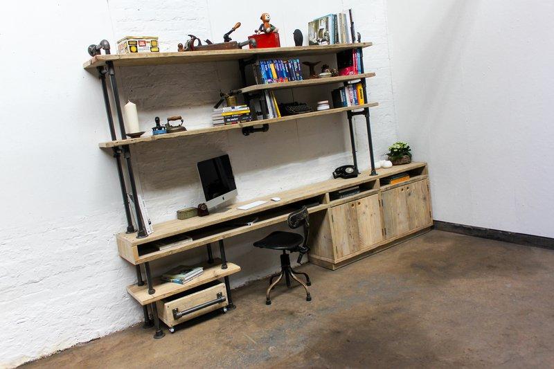 Pourreza reclaimed scaffolding  steel pipe industrial desk with storage  carla muncaster treniq 1 1523873526606