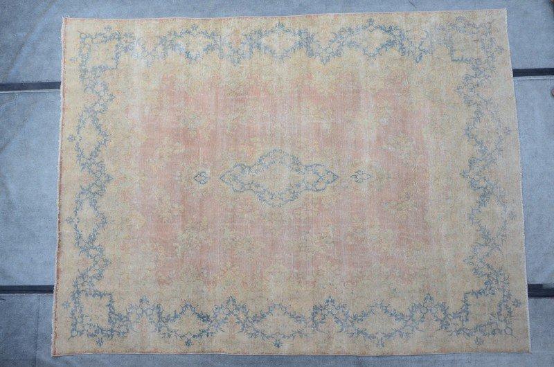 Pink vintage kirman sheared thin pile rug talam   khaadi treniq 1 1524233764422