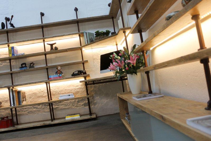 Mcleod reclaimed scaffolding  steel pipe industrial corner desk   shelves  carla muncaster treniq 1 1524563900863