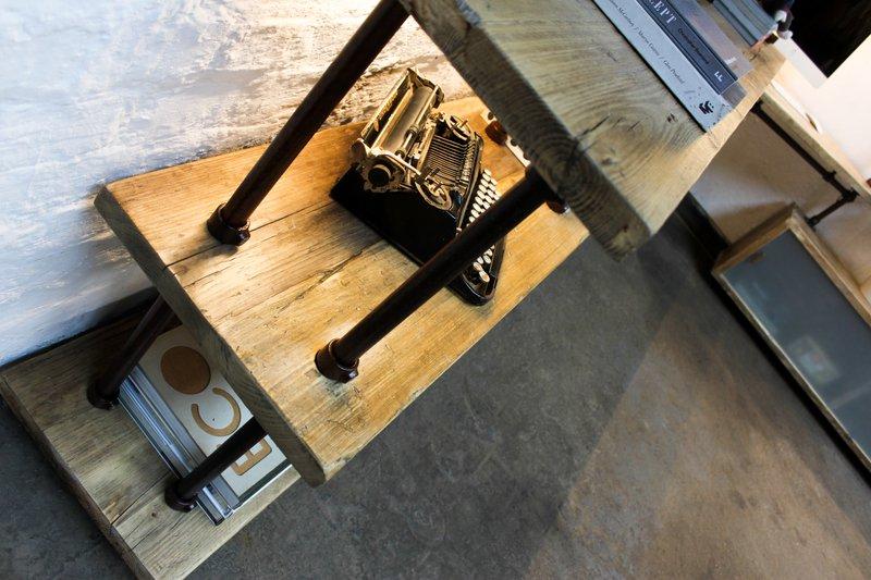 Mcleod reclaimed scaffolding  steel pipe industrial corner desk   shelves  carla muncaster treniq 1 1524563900864