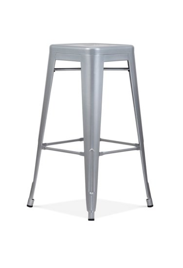 Bistro bar stool silver grey metal  set of four cielshop treniq 1 1525180449438