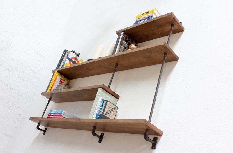 Barnaby bespoke adjustable beech shelves with threaded steel pipe carla muncaster treniq 1 1526294703319