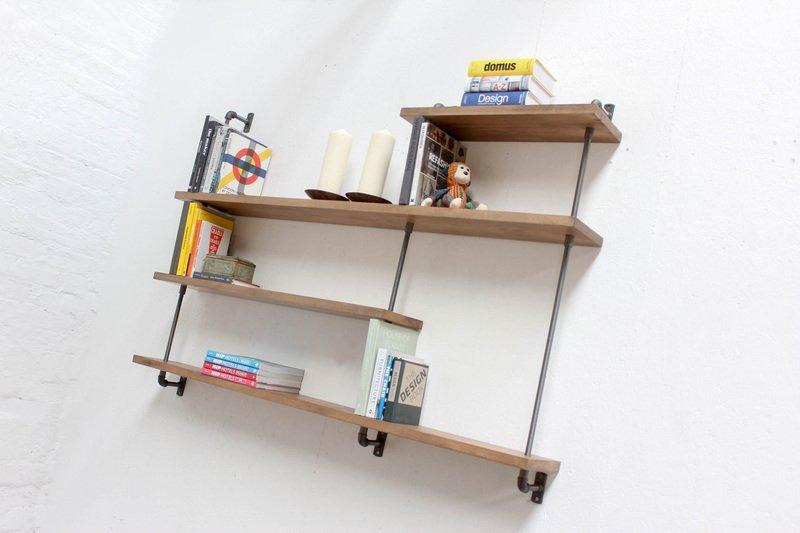 Barnaby bespoke adjustable beech shelves with threaded steel pipe carla muncaster treniq 1 1526294703330
