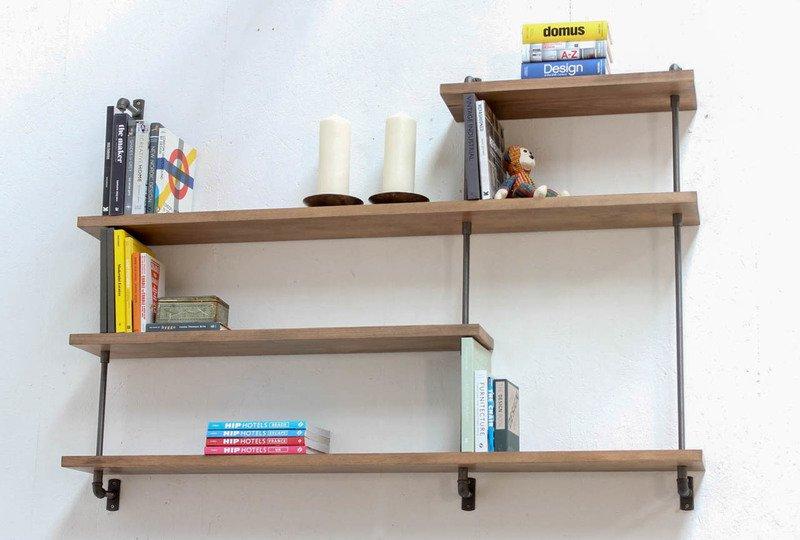 Barnaby bespoke adjustable beech shelves with threaded steel pipe carla muncaster treniq 12 1526297177134