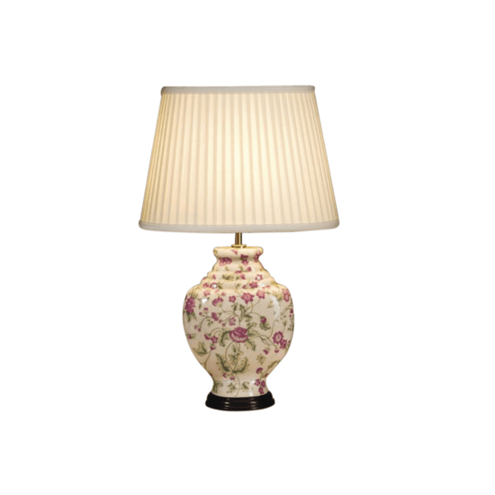 Chinese style porcelain lamp with pink carnations and shade gustavian style treniq 1 1526372855272