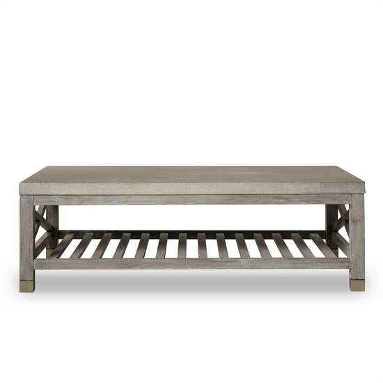 Percival coffee table shagreen top champagne shagreen   grey washed  sonder living treniq 1 1526644150644