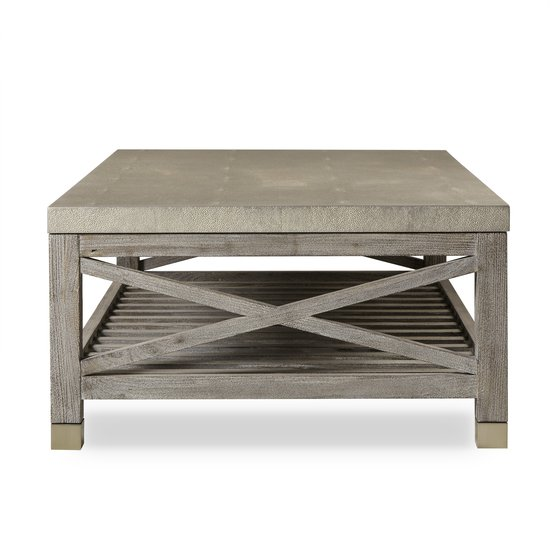 Percival coffee table shagreen top champagne shagreen   grey washed  sonder living treniq 1 1526644150649