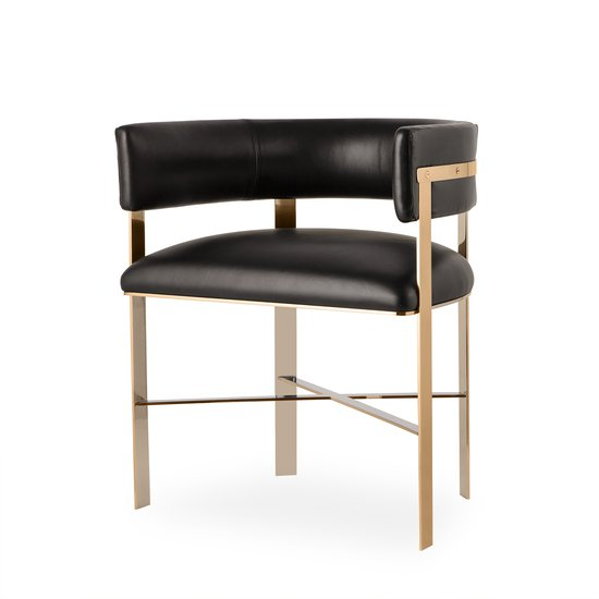 Art dining chair black leather mirrored brass  sonder living treniq 1 1526882862490