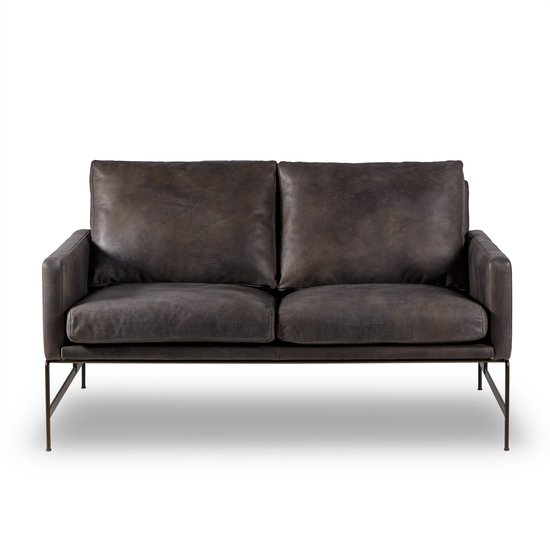 Vanessa 2 seater sofa destroyed black leather  sonder living treniq 1 1526972240258