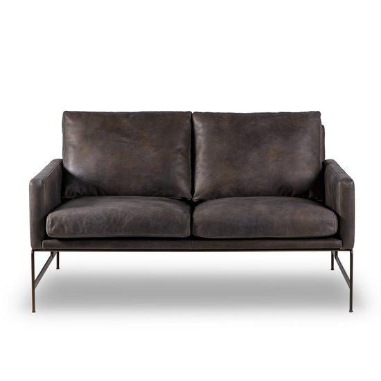 Vanessa 2 seater sofa destroyed black leather  sonder living treniq 1 1526972240267