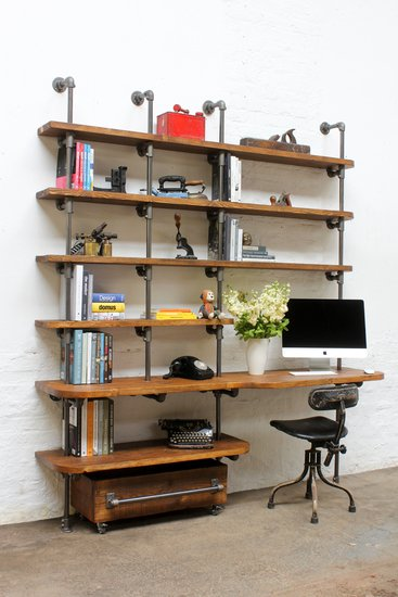 Nita reclaimed scaffolding board   steel pipe curved shelving   desk unit urban grain treniq 1 1528375927773