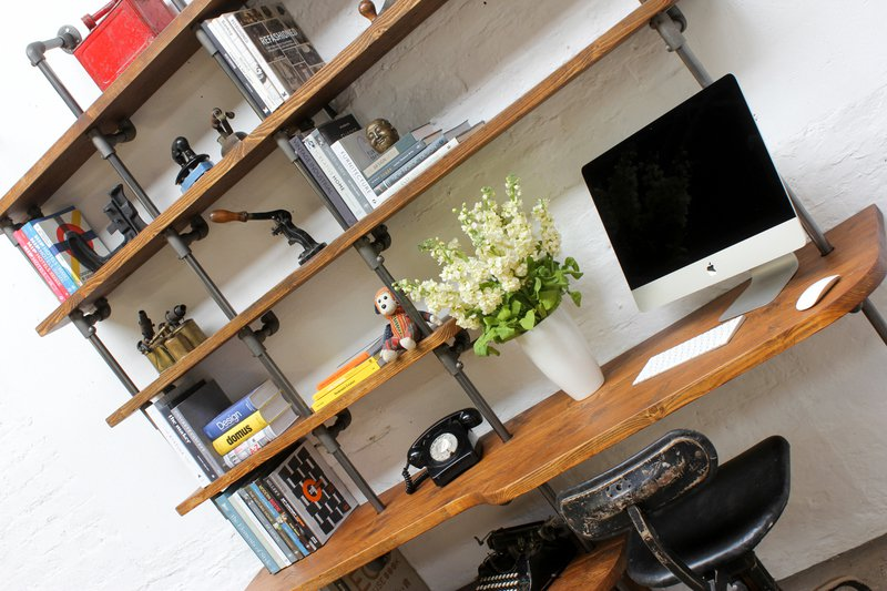 Nita reclaimed scaffolding board   steel pipe curved shelving   desk unit urban grain treniq 1 1528375927812