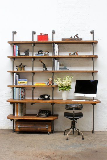 Nita reclaimed scaffolding board   steel pipe curved shelving   desk unit urban grain treniq 1 1528375927768
