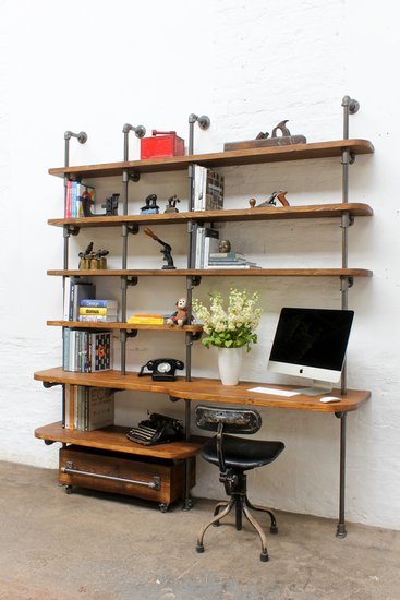 Nita reclaimed scaffolding board   steel pipe curved shelving   desk unit urban grain treniq 1 1528375927763