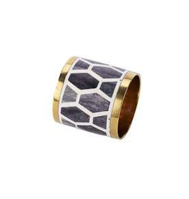 Gramercy Napkin Ring in Grey and White
