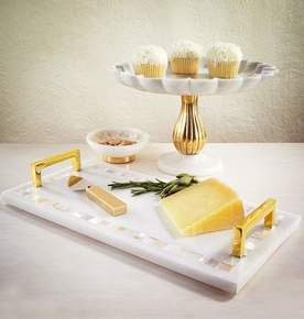 Noor Cake Server Set in Brass and Stainless Steel