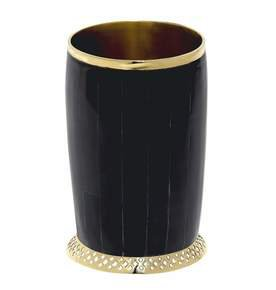 Monarch Cylinder Vase in Dark Horn and Brass