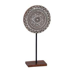 Kalamkari in White Wood Block Medallion