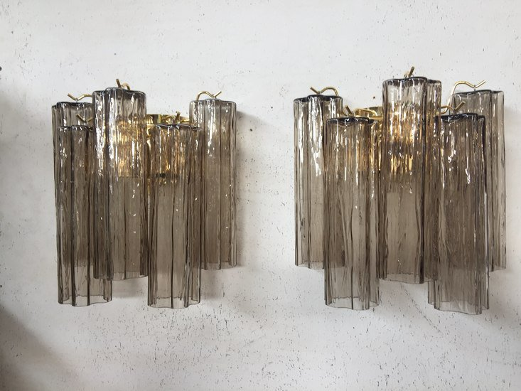 Pair of 2 murano glass wall sconces with tronchi il paralume marina treniq 1 1528990466725