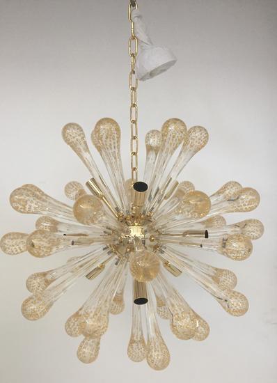 Sputnik gold and transparent murano glass chandelier il paralume marina treniq 1 1529044530266