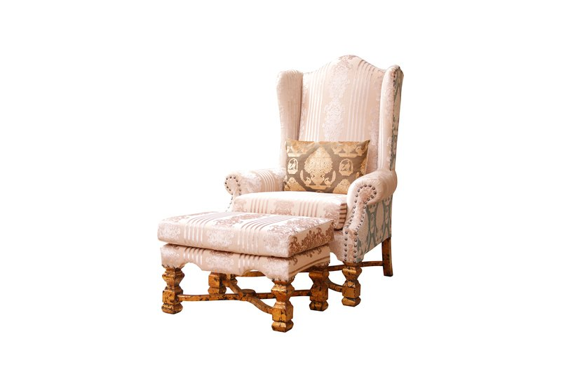 High back wing armchair with stool hayat 1870 treniq 1