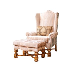 High Back Wing Armchair With Stool - Hayat 1870 - Treniq