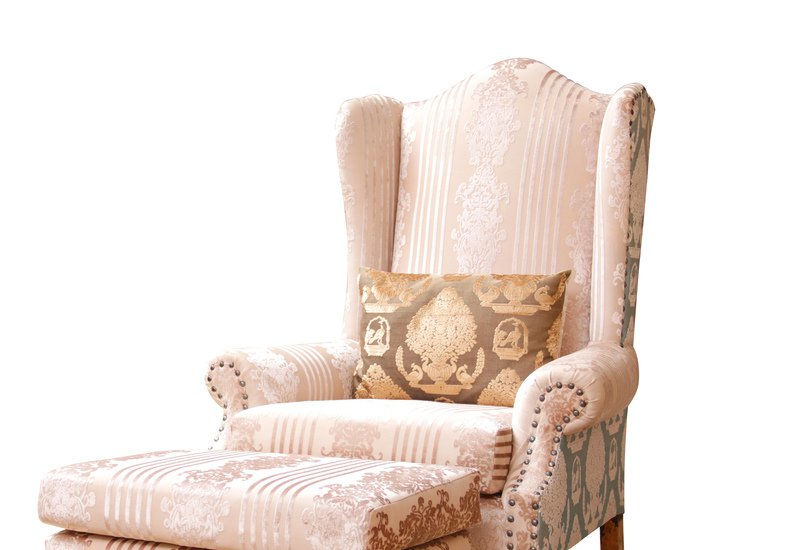 High back wing armchair with stool hayat 1870 treniq 2