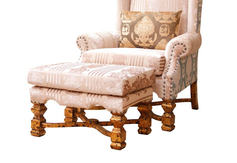 High back wing armchair with stool hayat 1870 treniq 3